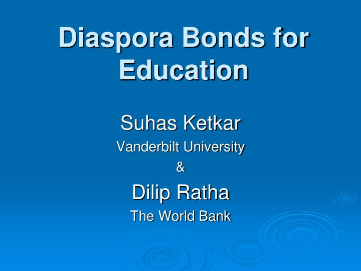 Diaspora bonds for education