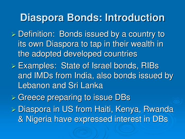 Diaspora bonds introduction