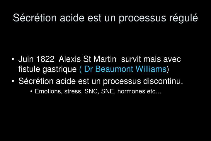 Sécrétion acide est un processus régulé