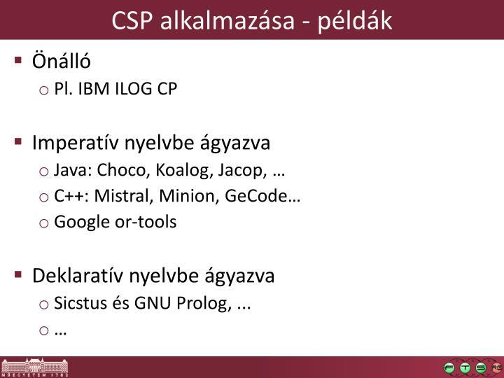 CSP alkalmazása - példák