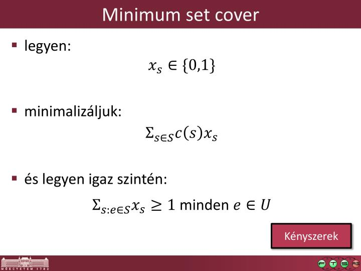 Minimum set cover