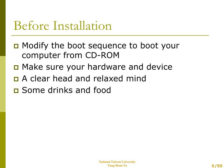 Modify the boot sequence to boot your computer from CD-ROM