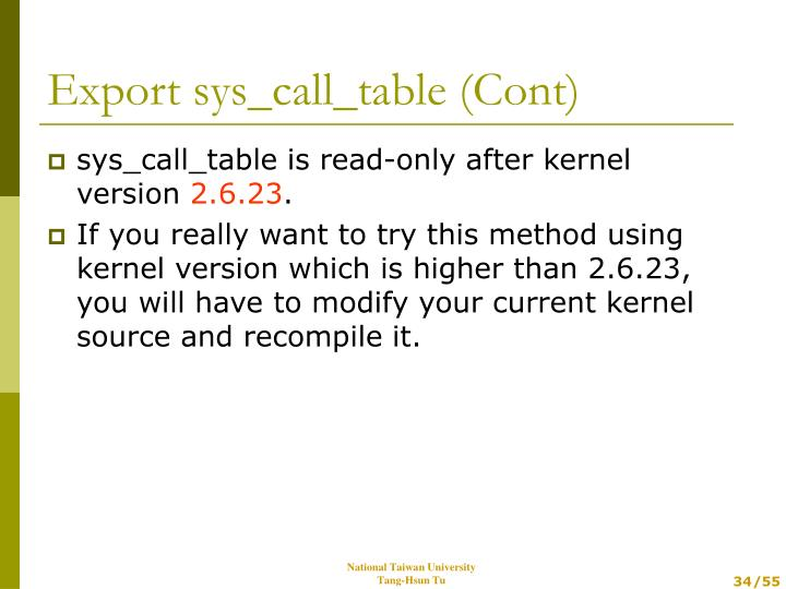 sys_call_table is read-only after kernel version