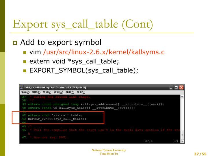 Add to export symbol