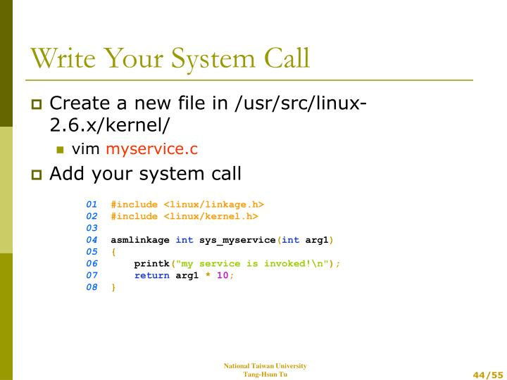 Create a new file in /usr/src/linux-2.6.x/kernel/