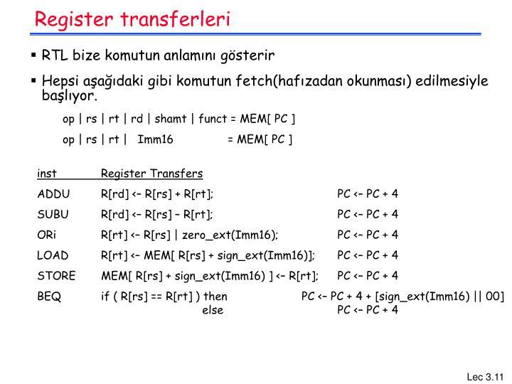 Register transferleri