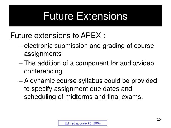 Future Extensions