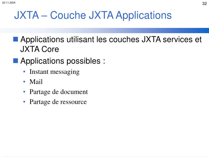 JXTA – Couche JXTA Applications