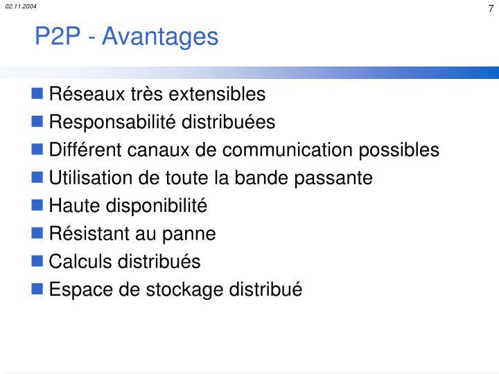 P2P - Avantages