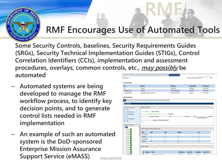 Some Security Controls, baselines, Security Requirements Guides (SRGs), Security Technical Implementation Guides (STIGs), Control Correlation Identifiers (CCIs), implementation