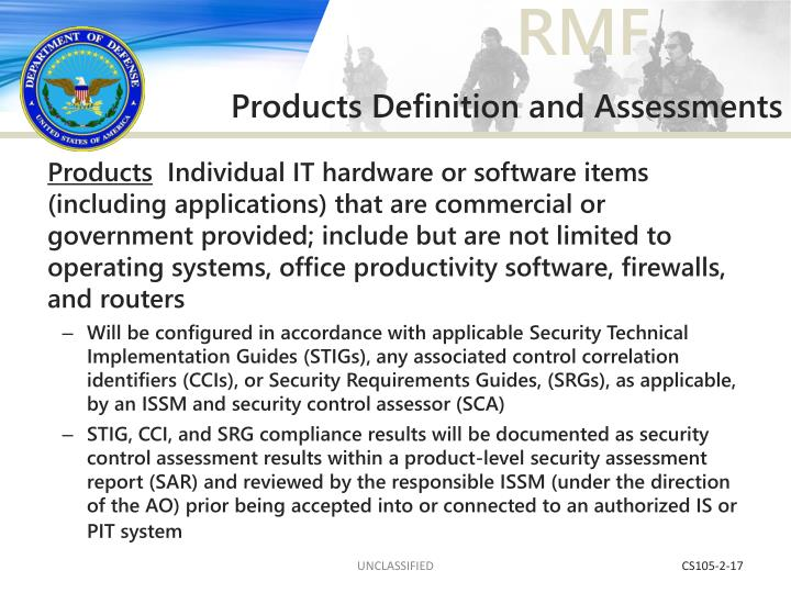 Products Definition and Assessments