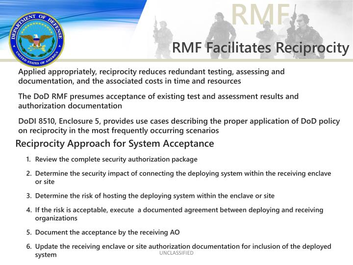 RMF Facilitates Reciprocity