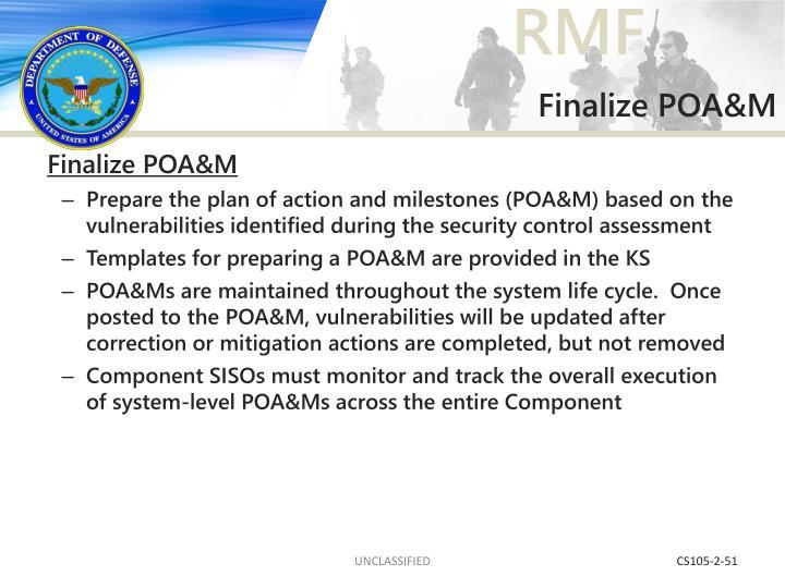 Finalize POA&M