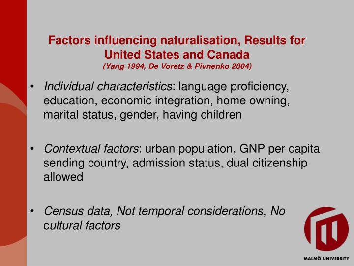 Factors influencing naturalisation, Results for United States and Canada