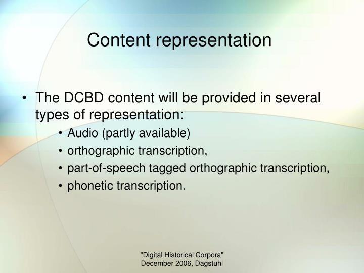 Content representation