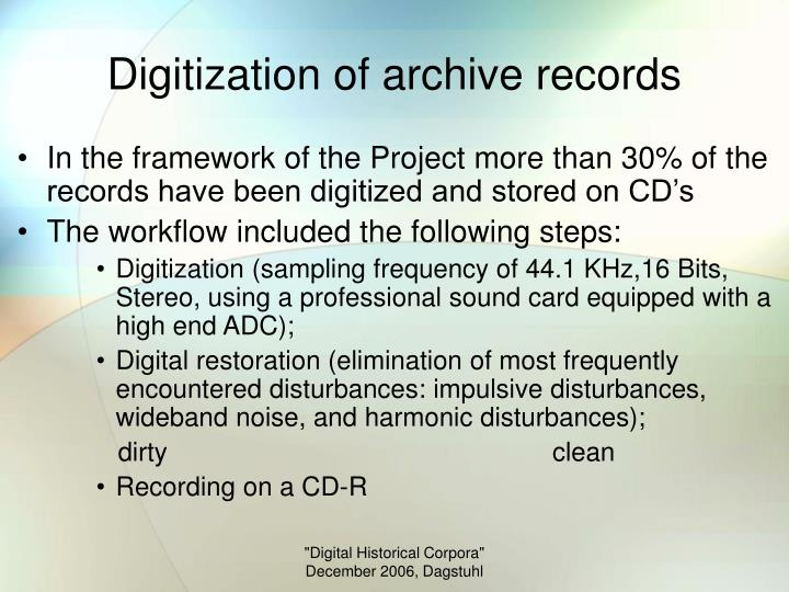 Digitization of archive records