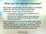 what are the relevant metadata