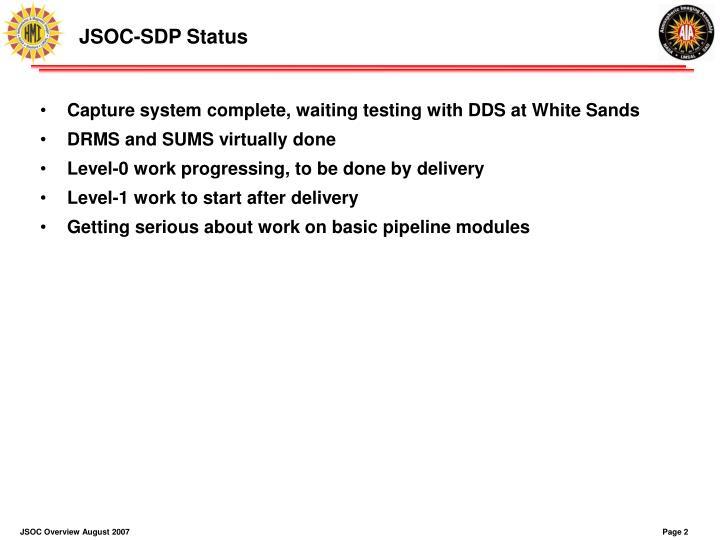 JSOC-SDP Status