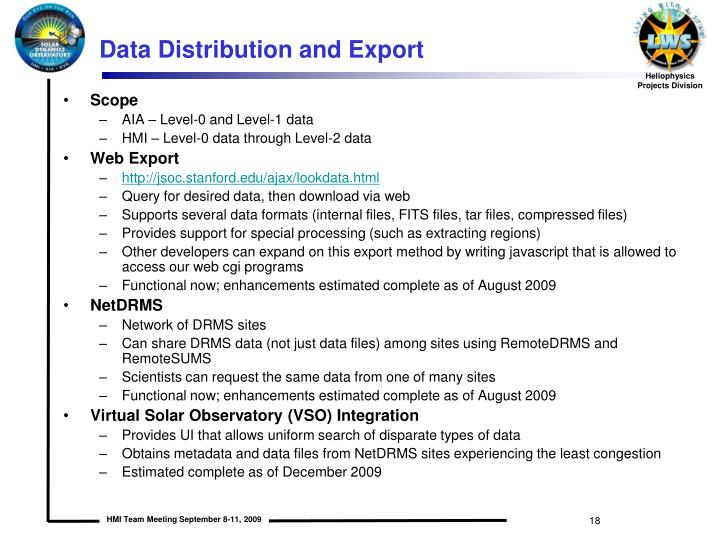 Data Distribution and Export