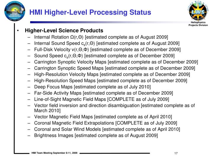 HMI Higher-Level Processing Status