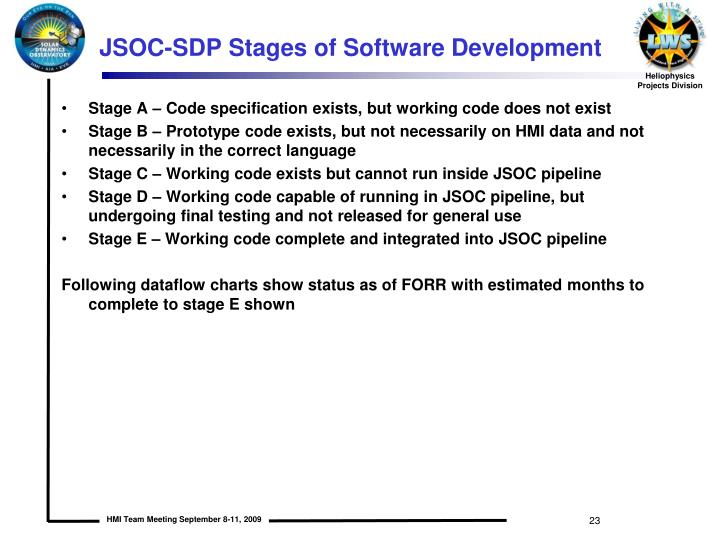 JSOC-SDP Stages of Software Development