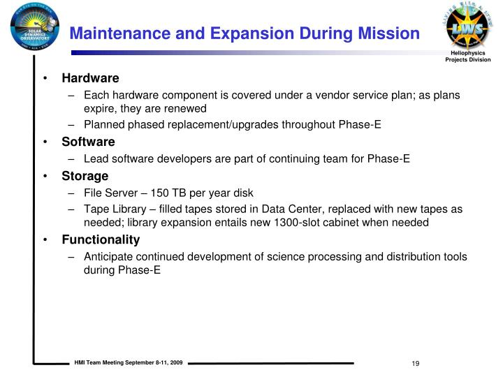 Maintenance and Expansion During Mission