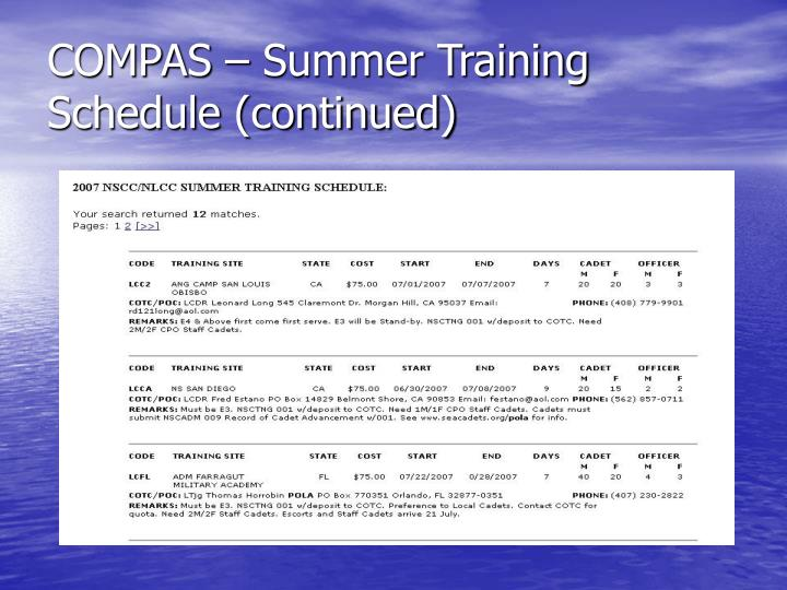 COMPAS – Summer Training Schedule (continued)