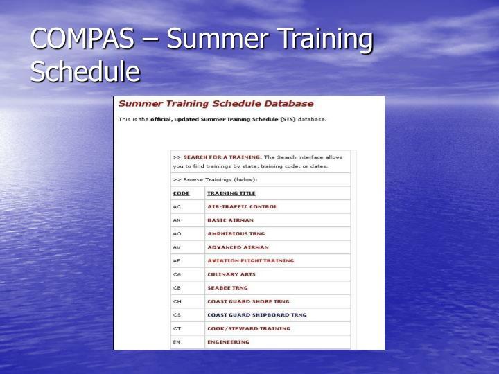 COMPAS – Summer Training Schedule