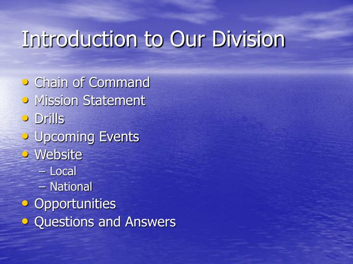 Introduction to our division
