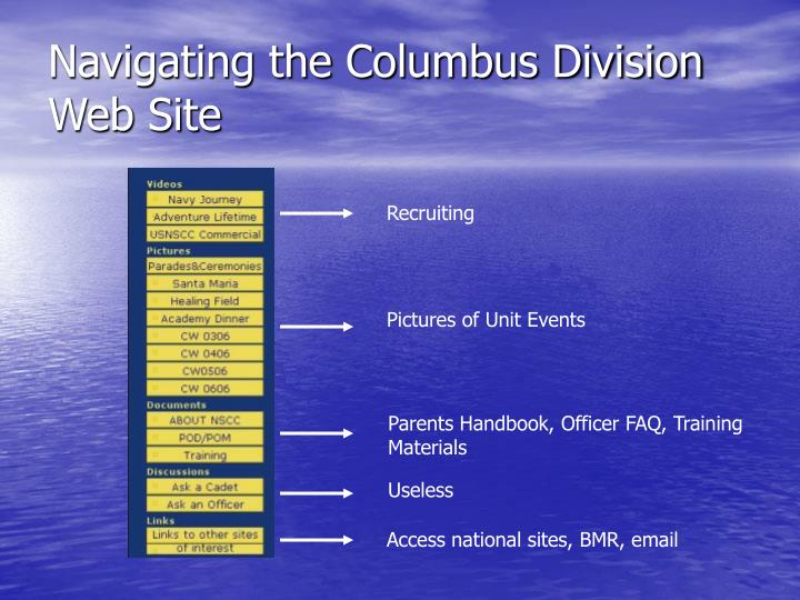 Navigating the Columbus Division Web Site