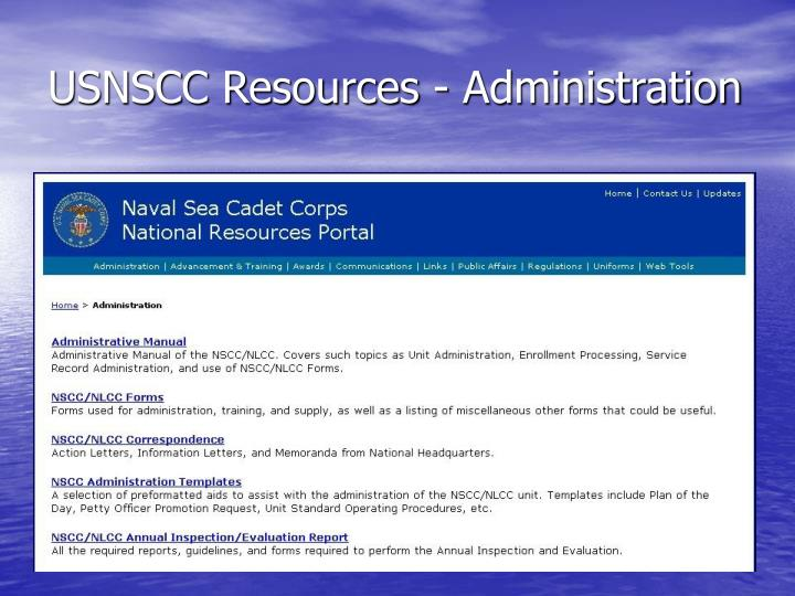 USNSCC Resources - Administration