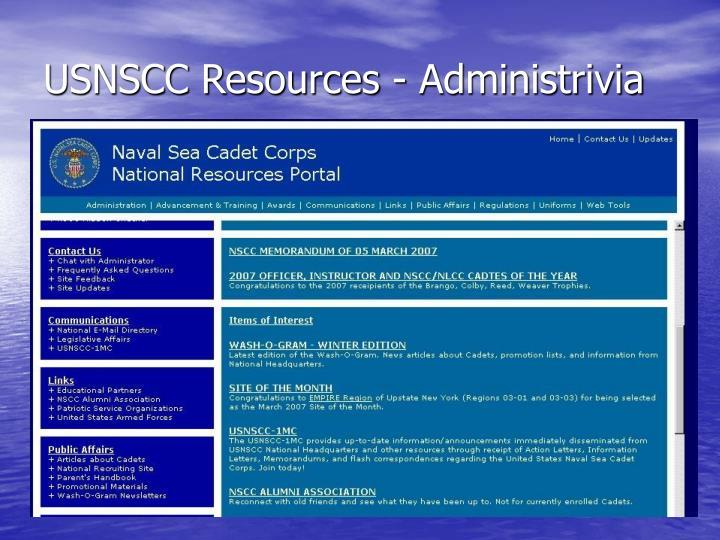 USNSCC Resources - Administrivia