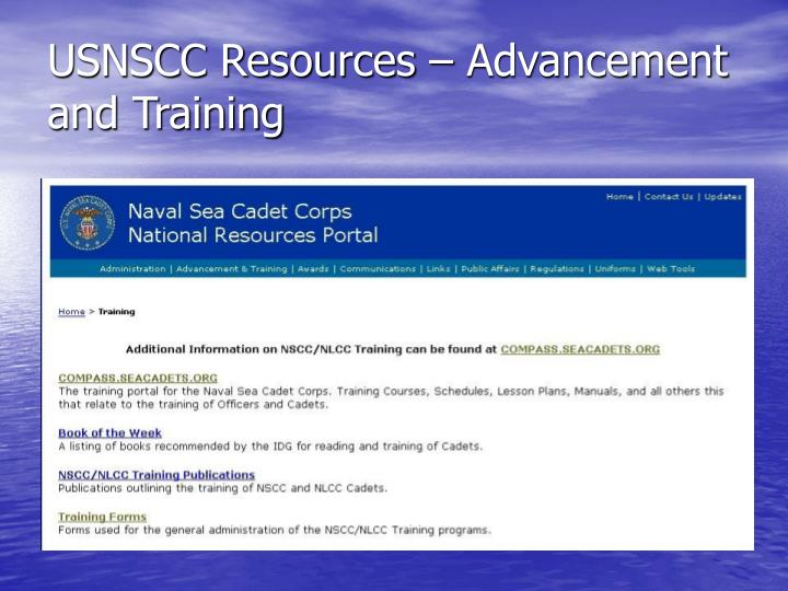 USNSCC Resources – Advancement and Training