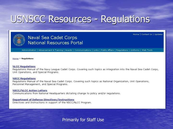 USNSCC Resources - Regulations