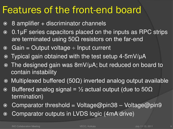 Features of the front-end board