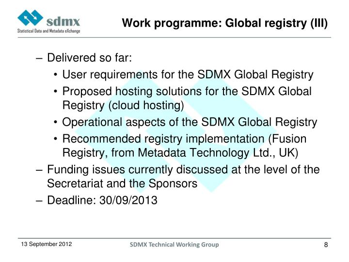 Work programme: Global registry (III)