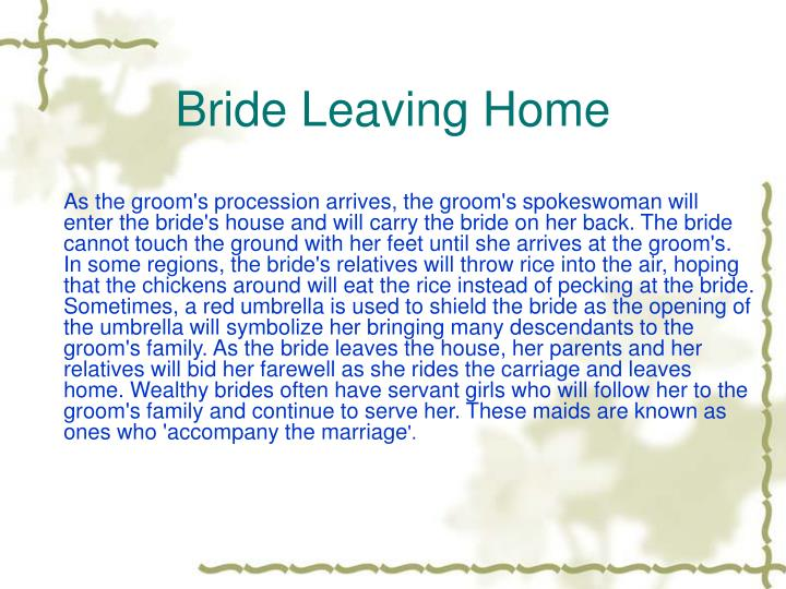 Bride Leaving Home