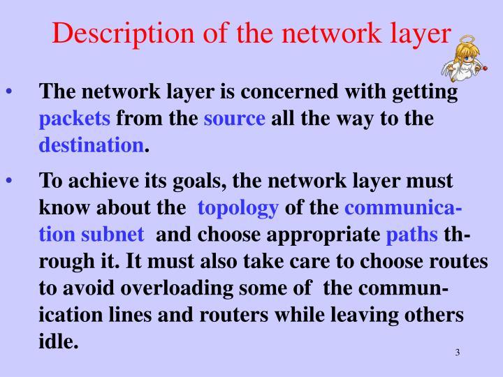 Description of the network layer