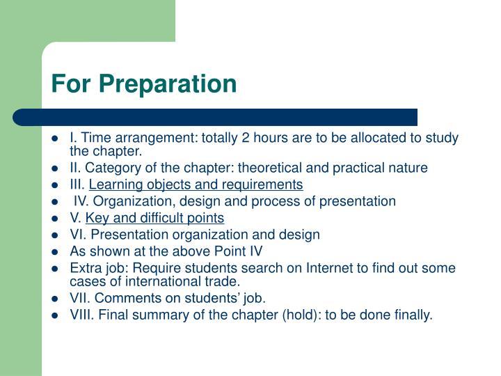 For Preparation