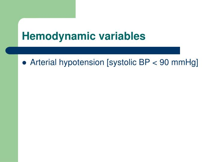 Hemodynamic variables