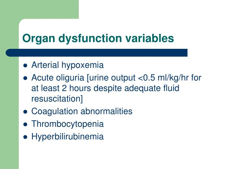 Organ dysfunction variables
