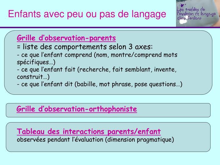 Enfants avec peu ou pas de langage