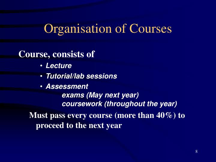 Organisation of Courses