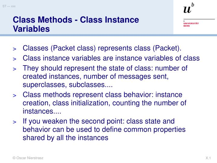 Class methods class instance variables