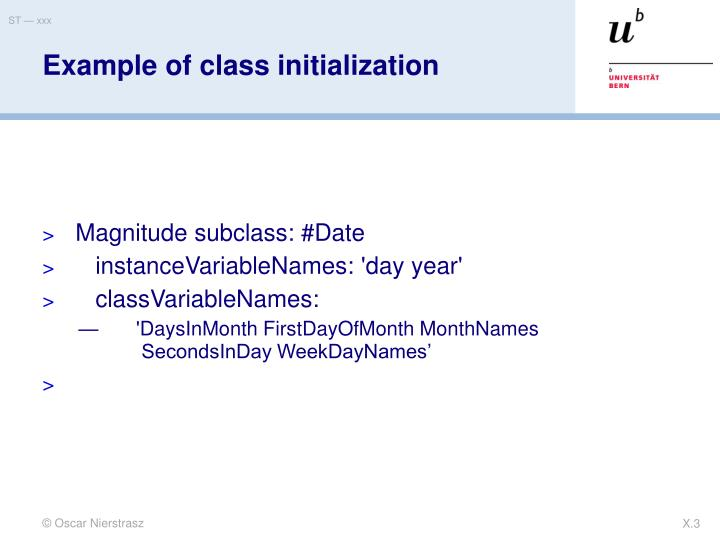 Example of class initialization