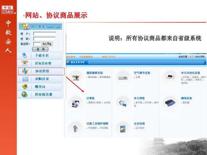 网站、协议商品展示