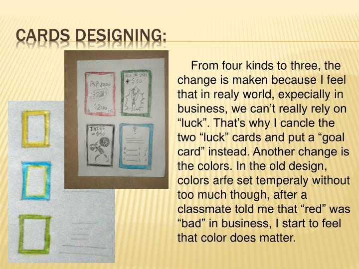 Cards designing:
