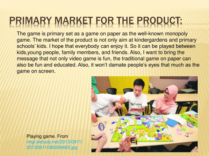 Primary market for the product: