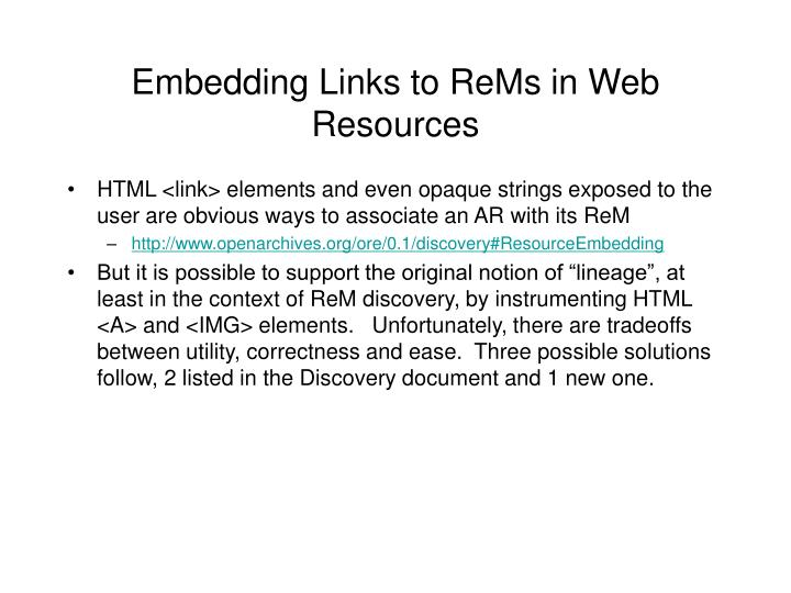 Embedding Links to ReMs in Web Resources