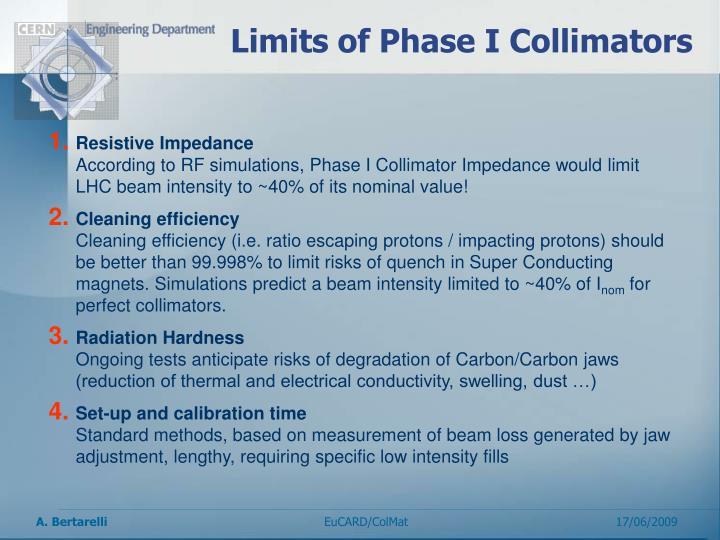Limits of Phase I Collimators